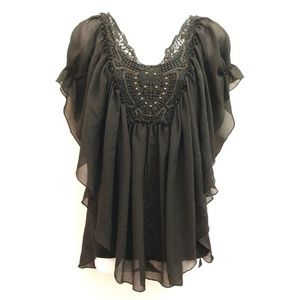 Cynthia Rowley black flowy top